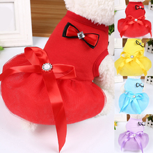 2020 Puppy Pets Bowknot Dress Lace Skirt Princess Soft Lovely Dress Small Dog ClothesDurable Pet Supplies Fashion Cute Clothing