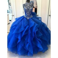 High Neck Crystal Beaded Bodice Corset Organza Layered Quinceanera Dresses Ball Gowns Princess Prom Dresses Lace up