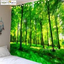 300*230 см зеленый синий лес природный пейзаж печать Ткань Гобелен
