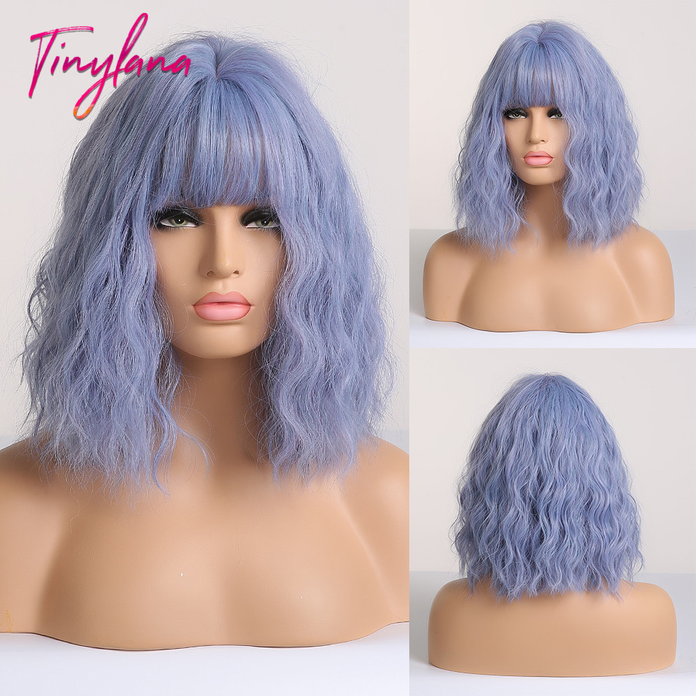 TINY LANA Bob Wig Wavy Synthetic Mixed Color Blue Wigs With Bangs For Women Medium Length Heat Resistant Party Cosplay Wigs