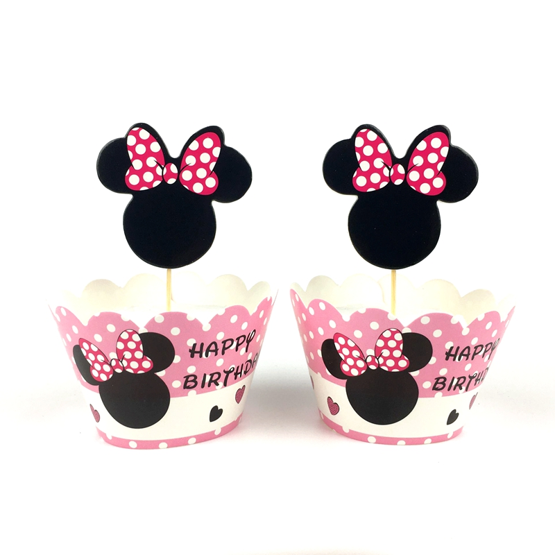 24pcs Minnie Mouse Cake Decoration Wapper Party Cake Topper Birthday Party Wedding Adult Cupcake Paper Supplies