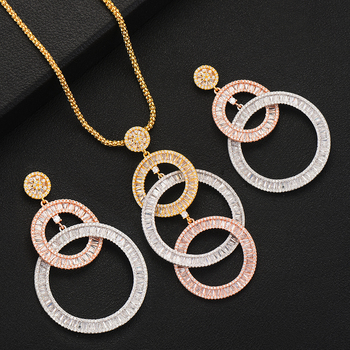 LARRAURI 2PCS Charms Women Wedding Necklace Earring Jewelry Sets For Women Wedding Brides Full Cubic Zirconia Inlaid Jewelry