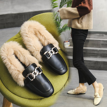 Fashion High Quality Metal chains leather flats winter loafers women