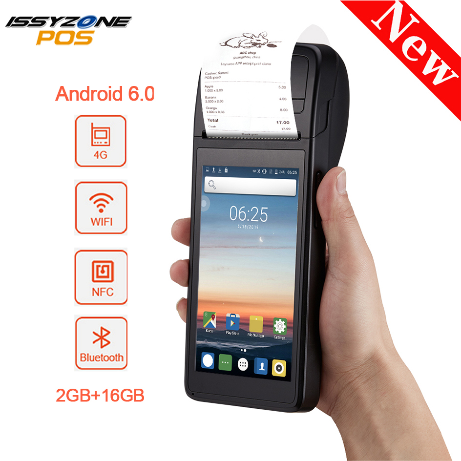IssyzonePOS Android 6.0 PDA Themal Receipt Printer Handheld POS Terminal Bluetooth 4.0 Wifi 3G 1W Speaker Camera Mobile Payment