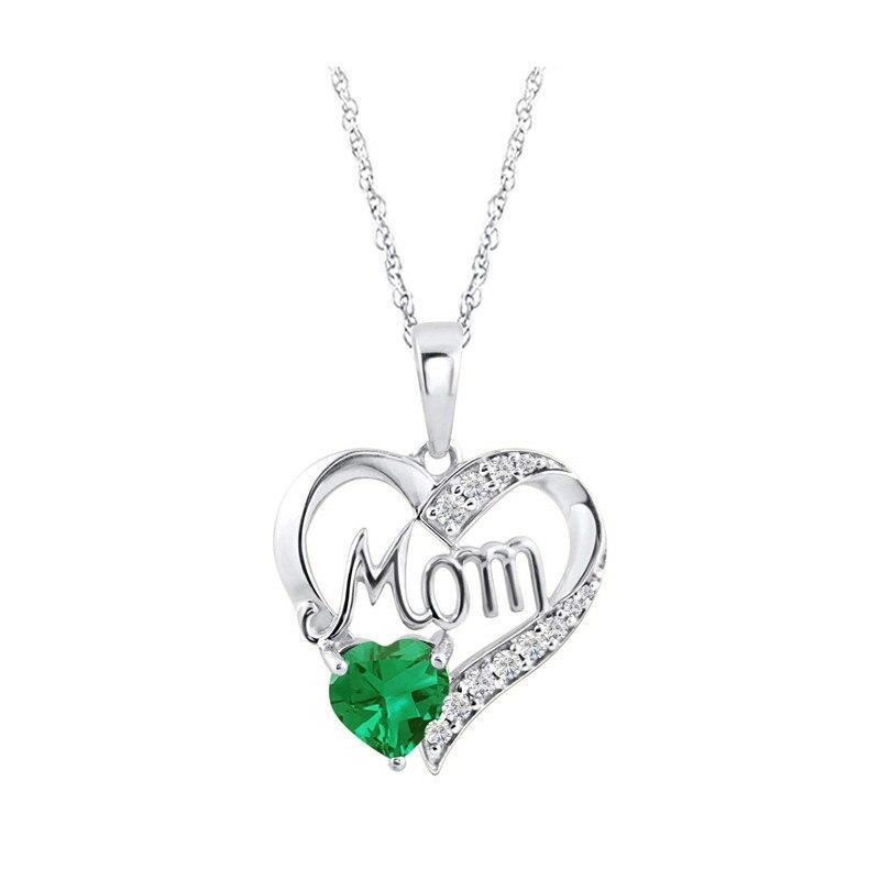 Cadeaux de bijoux de fête des mères collier pendentif coeur de maman émeraude simulé bijoux commémoratifs en or blanc 14k sur