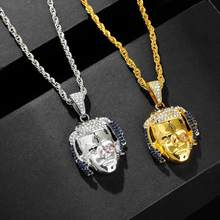 1pc Coll Rapper XXXTentacion Necklace Hiphop Iced Out Crystal Pendant Necklace Gold Silver Twist Chain Necklace Figure Toys Gift(China)
