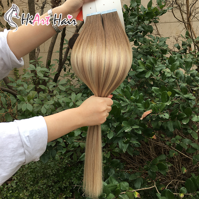 """HiArt 2.5g Tape Hair Extensions In Human Remy Hair Salon Double Drawn Balayage Adhesive Extensions Tape Hair Straight 18""""-26"""""""