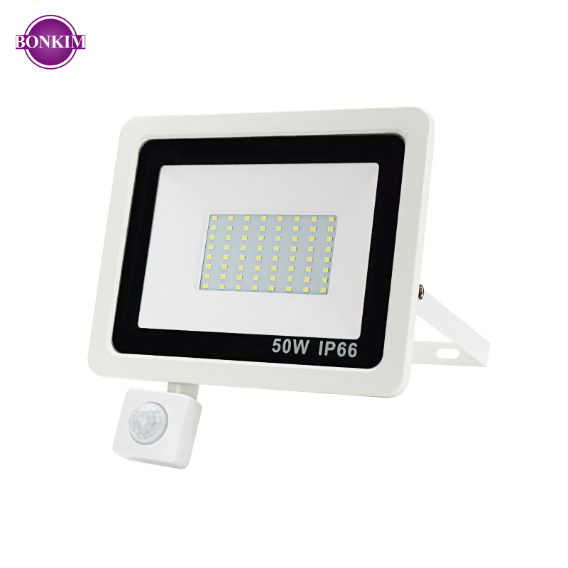 LED Floodlight PIR Motion Sensor AC220V Cold White Reflector Spotlight Waterproof IP66 10W 50W Indoor Outdoor Induction Lighting