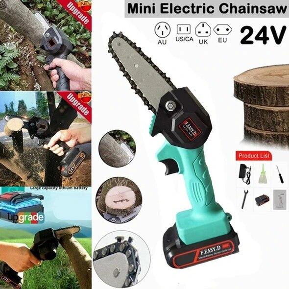 24V Mini Kettensäge schnurlos Elektrische Baumsäge Wiederaufladbare Batterie BD#
