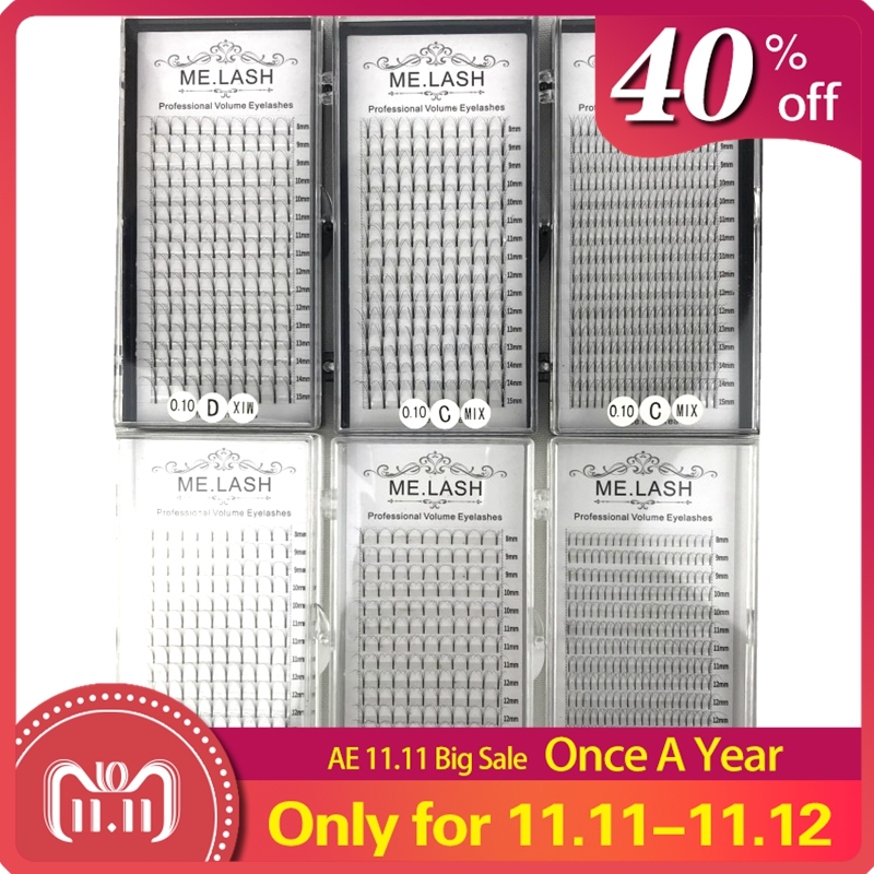 Wholesale 10 Trays 16 Rows Mixed 8 To 15mm Premade Volume Lash Fans Premium 3D 4D 5D Long Stem Fans Eye Lashes Extensions Mink