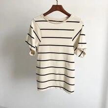 Mulher creme listrado espera algodão camiseta em torno do pescoço manga curta moda topos camisetas 2020ss