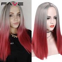 Женские прямые парики fave серые красные с эффектом омбре черные