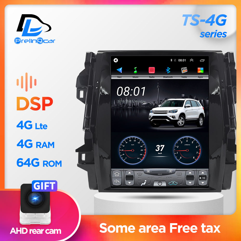 12.1 Inch 4G Lte 64G ROM Vertical Screen Android System Multimedia Video Radio Player For Toyota FORTUNER Navigation Stereo