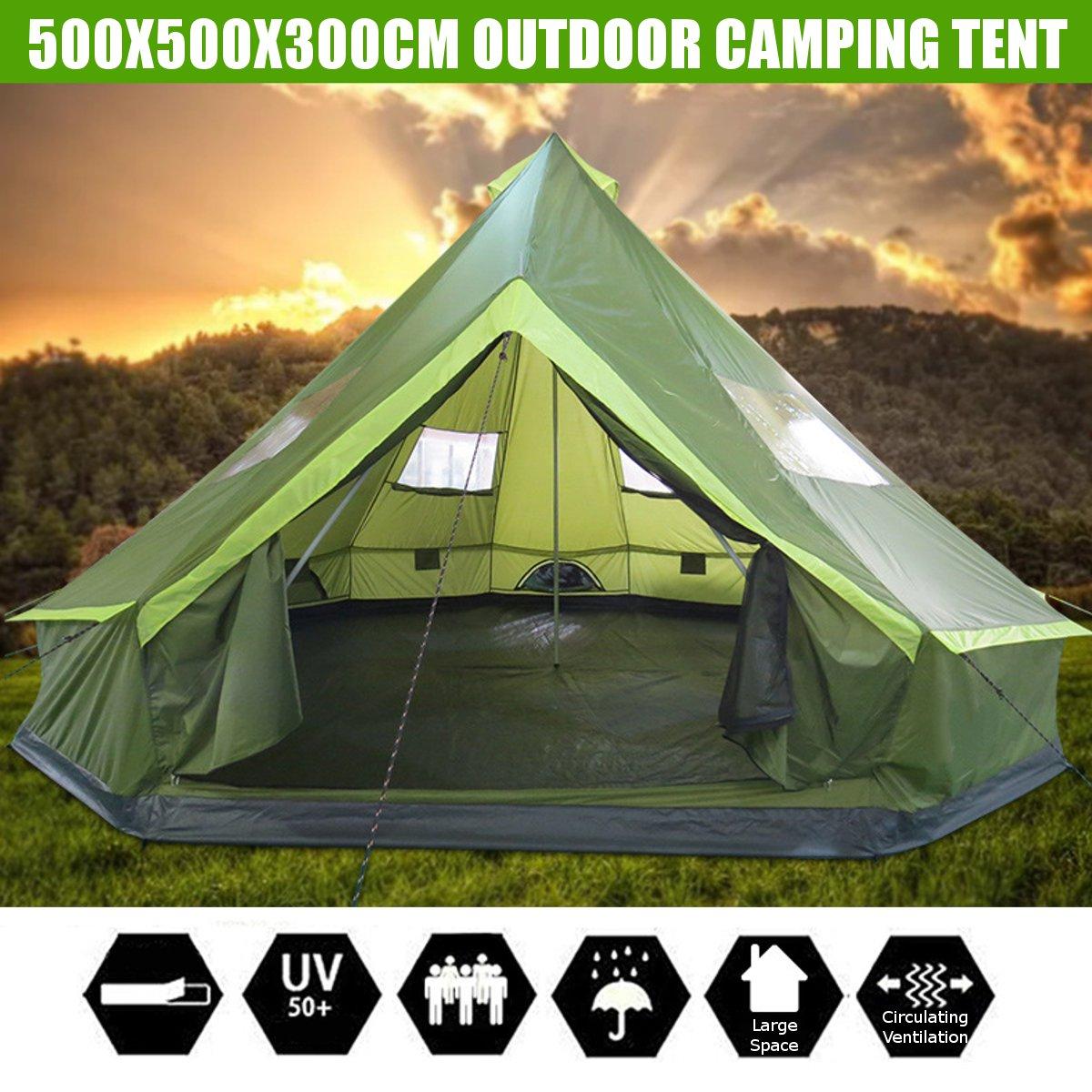 8 osób Kempingowy namiot rodzinny jurta na świeżym powietrzu wodoodporna piesze wycieczki schronienie jeden pokój plaży wiatroszczelna podróży wędkowanie namioty 500x500x300cm