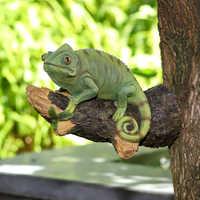 Creaive-estatua de animales para decoración de jardín, árbol colgante, búho, camaleón, tucán, conejo, pato, arte, escultura artesanal de resina, ornamento para el hogar y al aire libre