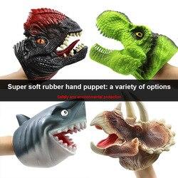 Dinossauro mão fantoche luva de borracha macia triceratops crianças modelo animal dinossauro brinquedo da boneca das crianças brinquedos educativos lazer