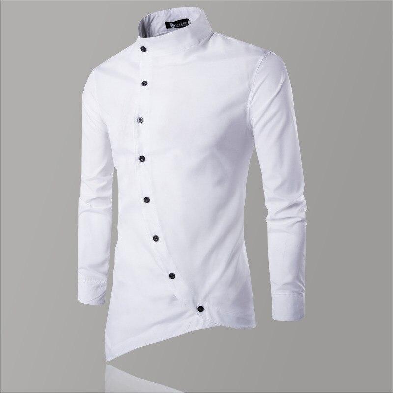Men/'s Vintage Striped Shirt Grandad Collarless Button Down Autumn Causal Top Tee