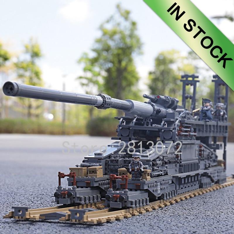En existencias alemán 80cm K [E] ferrocarril Dora 3846 Uds bloques de construcción ladrillo KZ10005 niños regalo cañón E arma de vía férrea WW2
