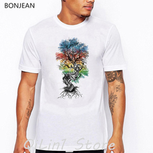 Watercolor tree steps printed vintage t shirt men summer top white man's t-shirt novelty tee homme oversized anime