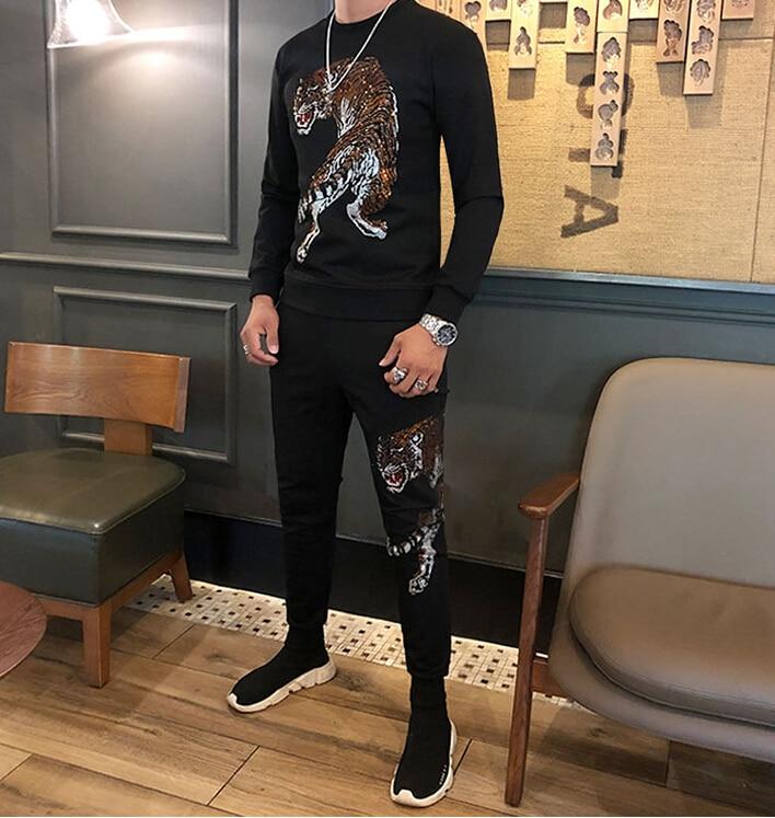 2020 New Cotton Set Autumn Tracksuit Set Male Sweatshirt High Quality Fashion Men Tracksuit Two Pieces Hot Drilling
