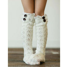 Lace Sheer Hollow Crochet Stockings Women Autumn Winter Warm Cable Knitted Thigh High Leggings Long Boots Tube Stockings Female