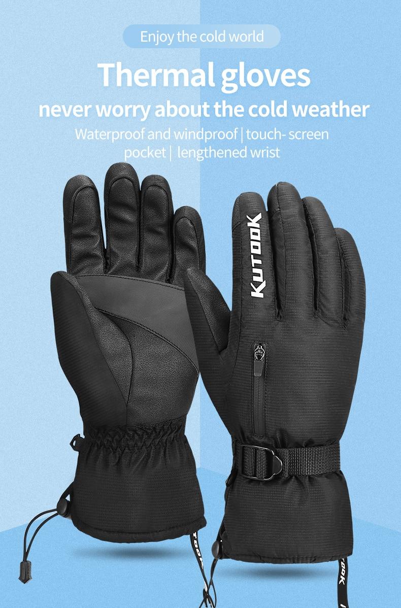 KUTOOK Winter Ski Mittens Waterproof Thermal Fleece Snowboarding Gloves with the Convenient Pocket for Snowmobile Men Women