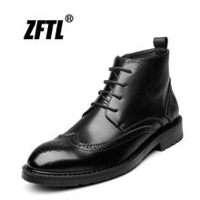 ZFTL New men martins boots causal man boots genuine leather autumn Bullock carved Trend handmade big size men's ankle boots 043 genuine leather boots women 2016 new arrival women ankle boots fashion spring autumn womens boots big size 34 41 free shipping