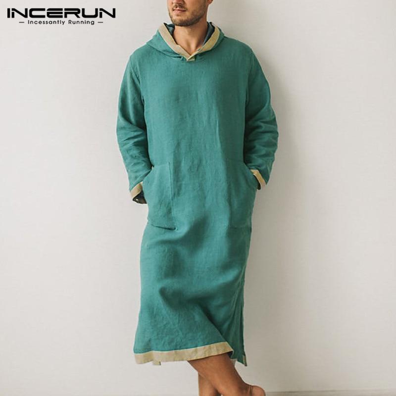 INCERUN Mens Hoodies Comfy Pajamas Fashion Long Sleeve Patchwork Sleep Robes Men Solid Pockets Homewear Leisure Cotton Bathrobes