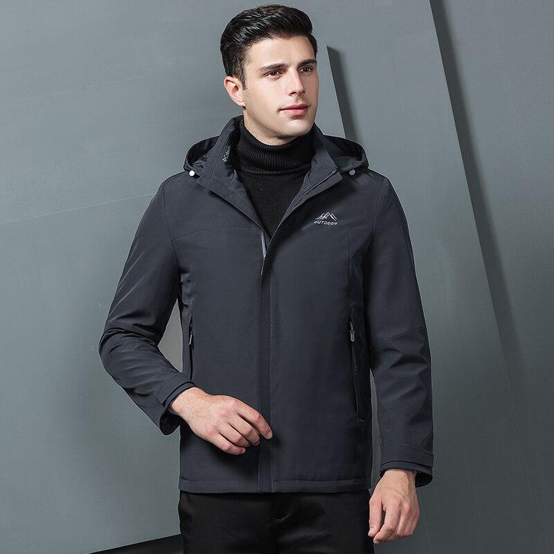 Куртки бомберы мужские 2019 зимние куртки мужские черные модные пальто с капюшоном куртки мужская одежда серая Осенняя верхняя одежда - 5