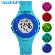 SYNOKE Children Digital Watch Sports Waterproof Alarm Clock Colorful LED Cute Bo