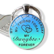 New copper Silver color Keychain Engraved To My Son Daughter forever Love Mom Keyring Key Chains Charm Love Pendant Jewelry Gift(China)