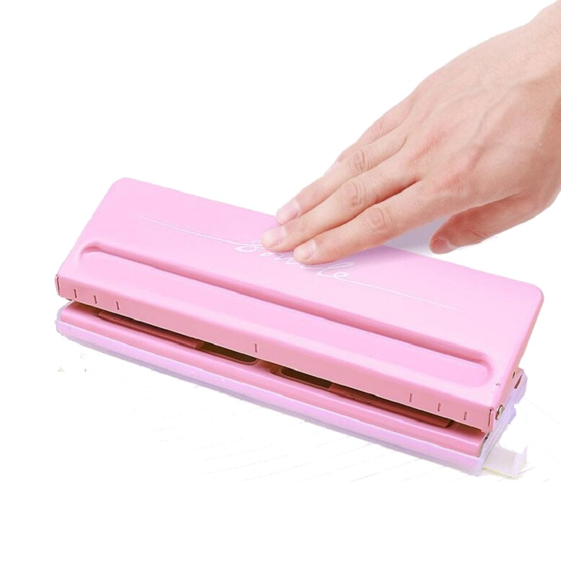6-Hole Standard Punch Adjustable Hole Punch For Handmade Loose Leaf And Bullet Journal Inner Page; Pink,White; 6 Sheets Capacity