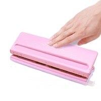 6 furo padrão perfurador ajustável do furo para a página interna feita à mão do diário da folha solta e da bala; rosa  branco; 6 folhas capacidade|Furador| |  -