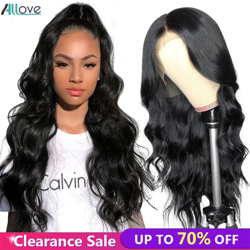 Allove Body Wave Human Hair Wigs For Black Women 4X4 Brazilian Lace Closure Wig  150%  Pre Plucked Body Wave Wig With Baby Hair