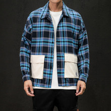 2019 Spring And Autumn Men's New Casual Contrast Color Plaid Pocket Decoration Single-breasted Shirt Loose Temperament Cotton stripe and plaid contrast hidden pocket longline dress