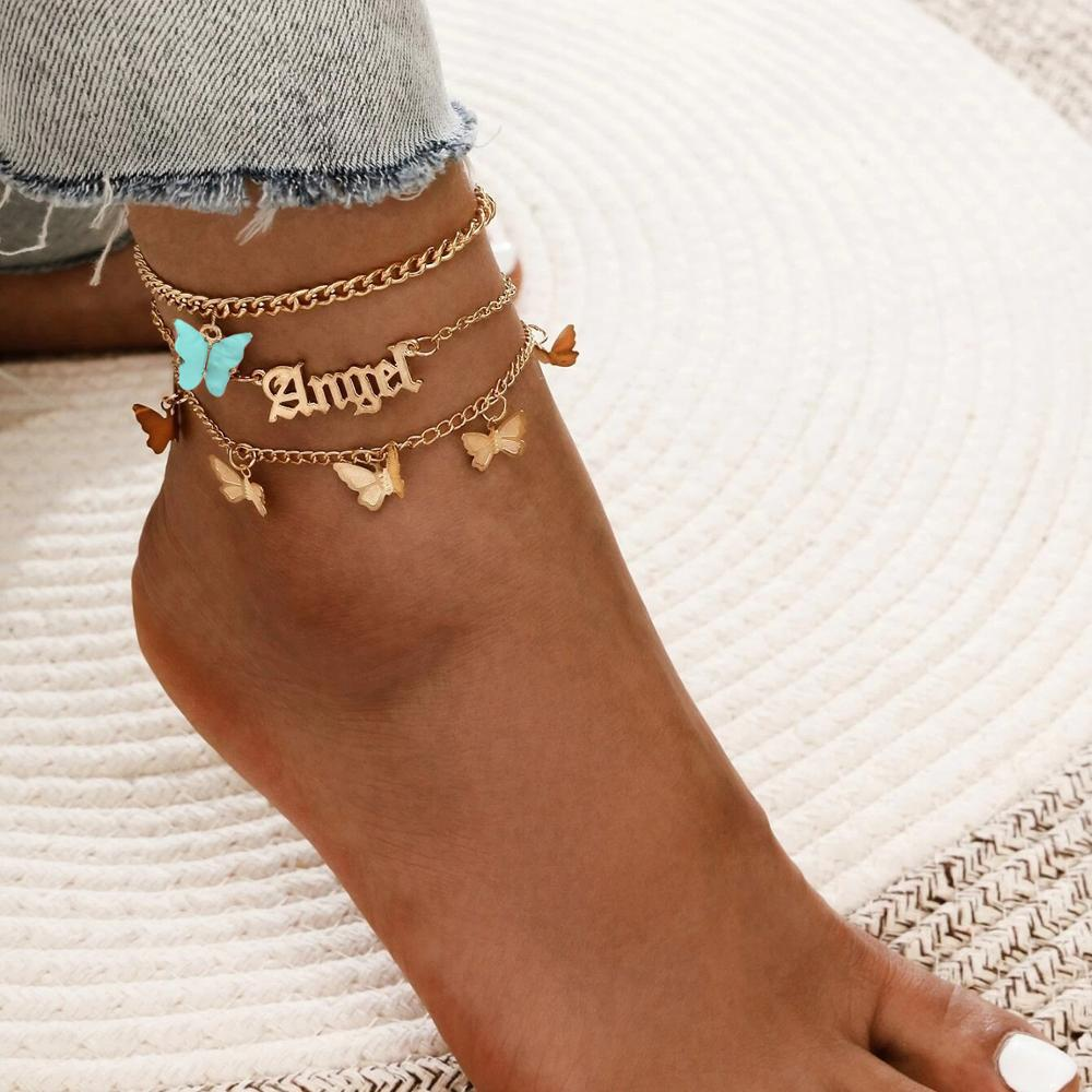 Wgoud Fashion Multilayer Cute Butterfly Anklets for Women Bohemian Simple Anklet Gold Color Chain Ankle Bracelet on Leg
