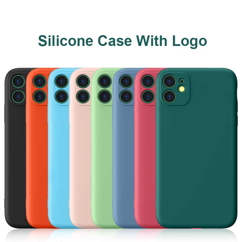 Original Silicone Phone Case For iPhone 11 XS XR X 8 7 6 SE 2020 Full Cover Camera Lens Protection Case With Have Logo