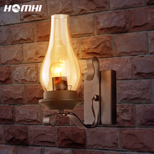 Retro Wall Lamp for Home Bedroom Bed Decorative Led Lights Country Humans Glass Shade