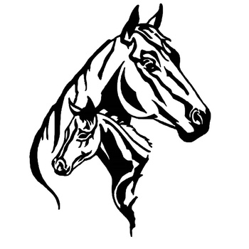 Car Stickers Stylish and Interesting Horse and Foal Car Decoration Stickers Waterproof Cover Scratch Black/white, 17cm*13cm image