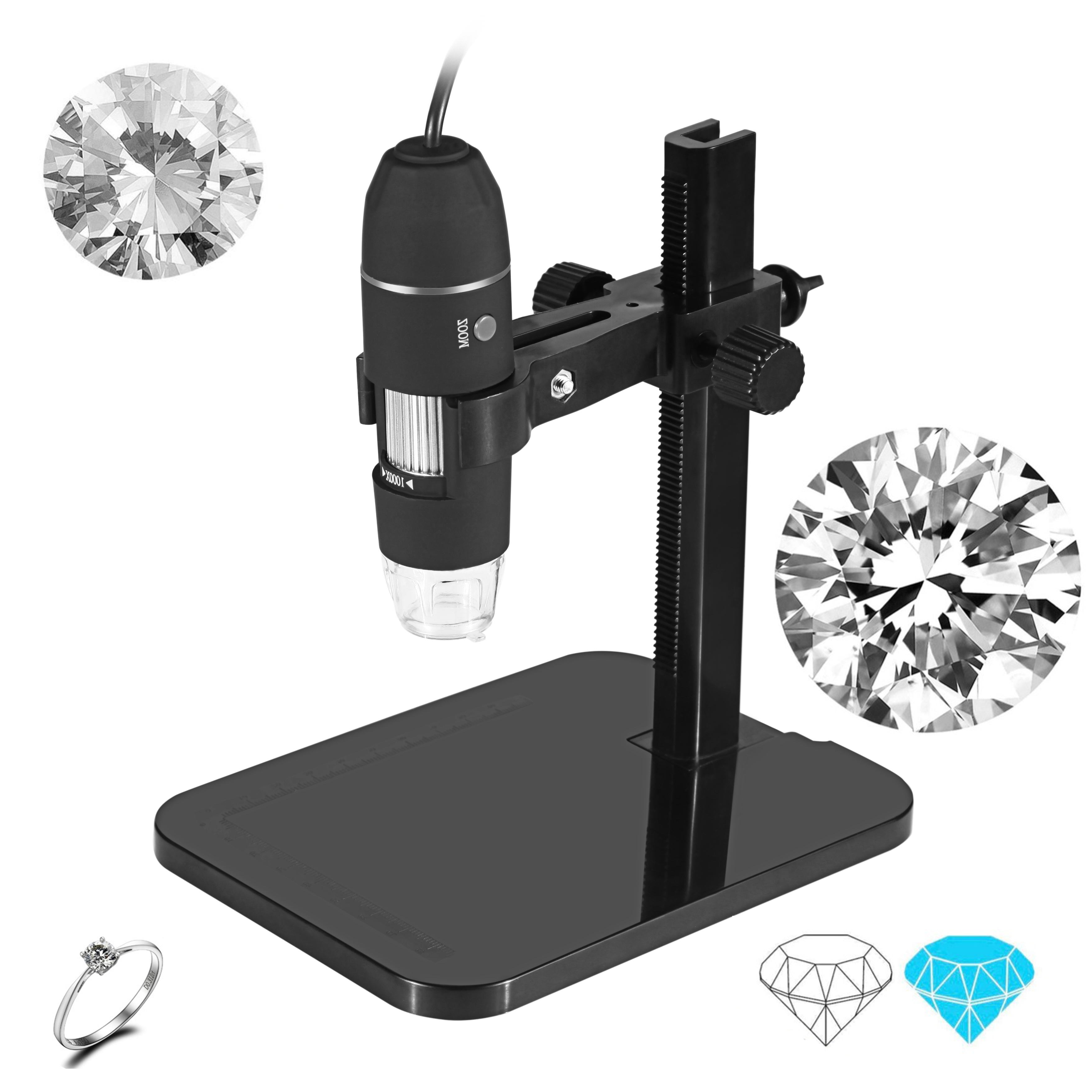 USB Digital Microscope 1000X 8 LED 2MP Professional Electronic Microscope Endoscope Zoom Camera Magnifier+ Lift Stand Tools