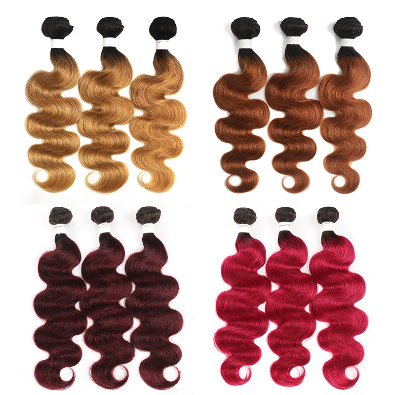 T1B/27 Ombre Brazilian Body Wave Hair Bundles 8-26 Inch Honey Blonde Human Hair Extension 3/4 PCS NonRemy Hair Weave Bundles