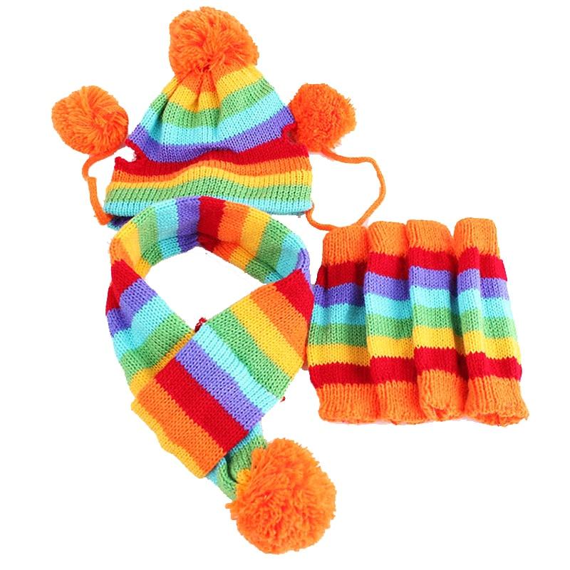 rainbow dog winter cap