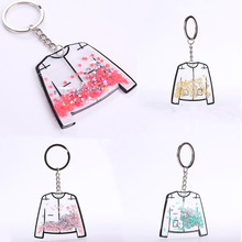 Colorful Fashion Key Chain Women Charm Gifts Jewelry Transparent Clothes Shape Keychain Handbags Holder Ring