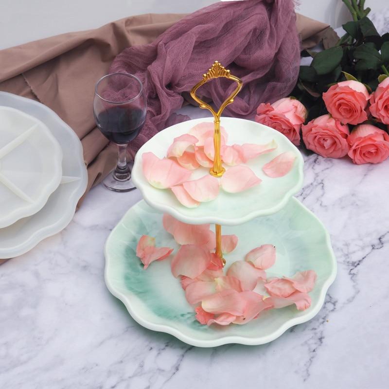 DIY bandeja grande de té de la tarde de dos capas, molde de silicona dulce fluido para el hogar, posavasos para hacer copos de epoxi para arte de resina, suministro para moldes