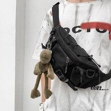 Fashion Minimalist Men Shoulder Bag Canvas Casual Designer Korean Shoulder Bag Chest Hip Hop Bolsos Hombre Mens Bag DE50NDJ