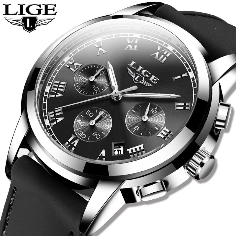 New Mens Watches LIGE Top Brand Luxury Silicone Strap Sports Waterproof Quartz Clock Army Military Wrist Watch Relogio Masculino