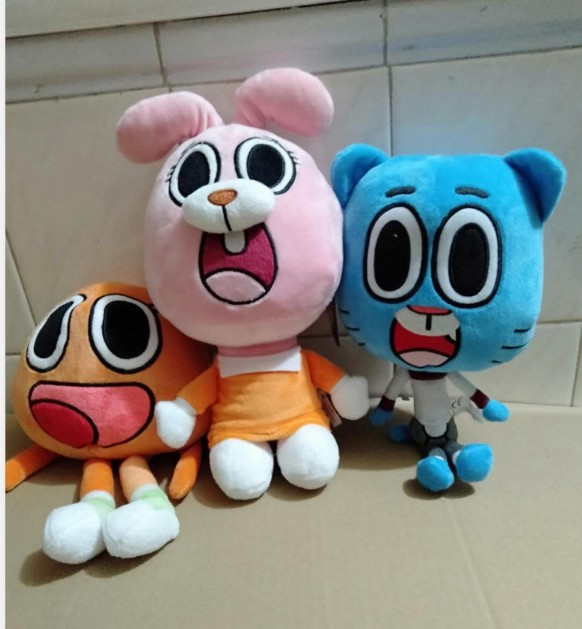 2020 New Arrival  25cm Cartoon Amazing World Gumball Darwin Anais Rabbit  Doll Toy Sofe Stuffed Plush Solf Toy For Kids Gift