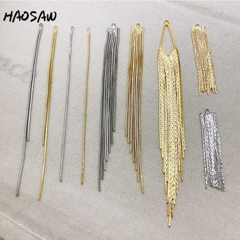 HAOSAW wybierz 4 sztuk partia akcesoria do biżuterii spawane kolczyki diy Making wąż łańcuch prawdziwe złoto poszycia Hand Made kolczyk ustalenia tanie i dobre opinie Złącza Fashion Accessories Metal Miedzi HS-JSZ-990027