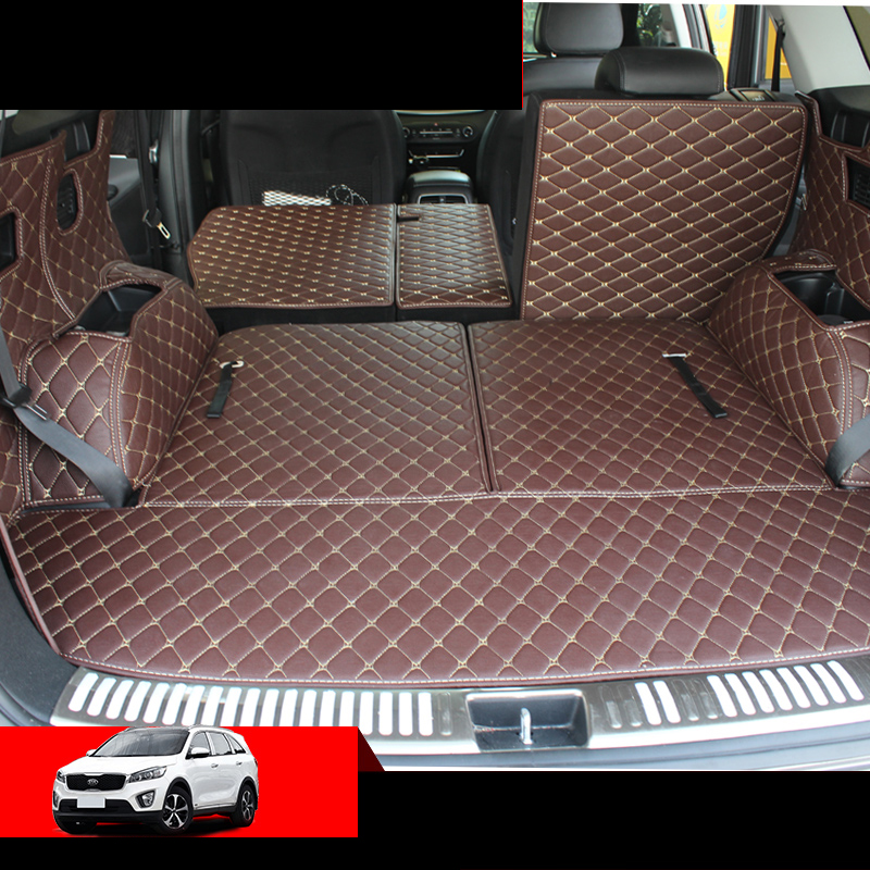 Lsrtw2017 For Kia Sorento Prime Leather Car Trunk Mat Cargo Liner 2015 2016 2017 2018 2019 2020 Carpet Luggage Boot Accessories