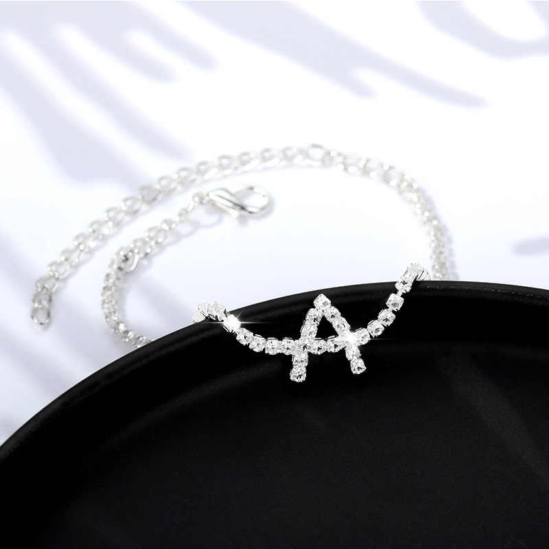 Kristal zirkon İlk harf bilezikler kadınlar için alfabe Charm bilezikler ve halhallar dostluk bilezik kadın mücevheratı hediye